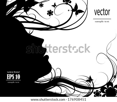 Silhouette of a beautiful girl on a white background - stock vector