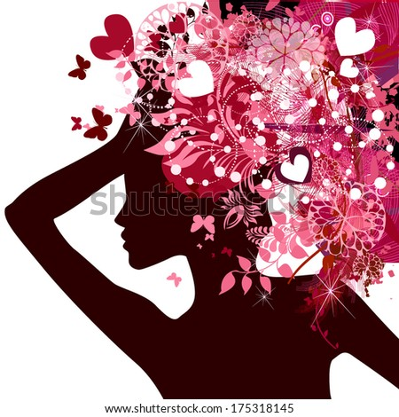 Silhouette of a beautiful girl with an abstract floral hairstyle of hearts and butterflies. Vector