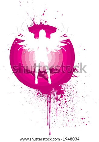 silhouette of a beautiful with angel wings - stock vector