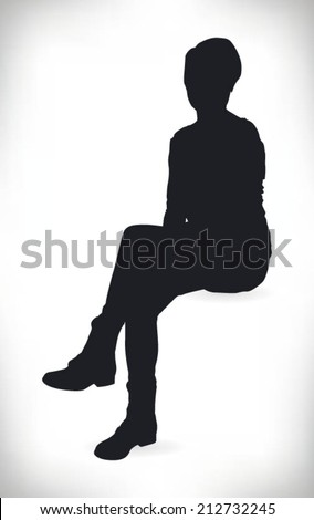 silhouette of a beautiful woman sitting formally - stock vector
