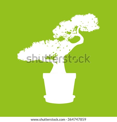 Silhouette  of a bonsai tree in white on a green background - stock vector