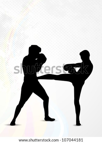 Silhouette of a boxers during boxing on  abstract grungy background. EPS 10.