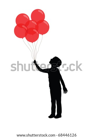 Silhouette of a boy holding red balloons - stock vector