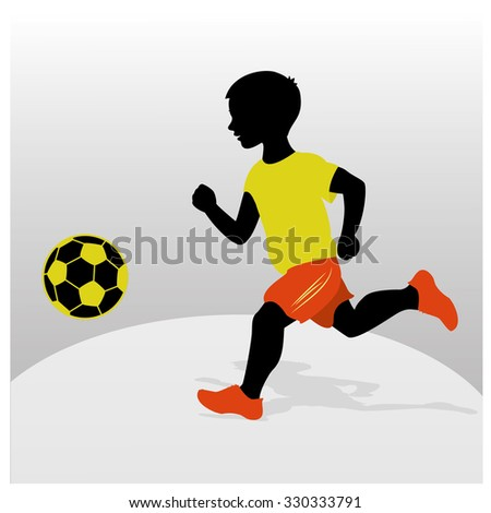 Silhouette of a boy playing football. Flat design. Vector illustration