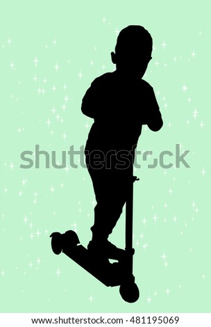 Silhouette of a boy riding scooter