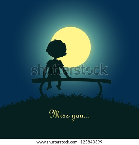 Silhouette of a boy sitting lonely in the moonlight. Design for card. - stock vector