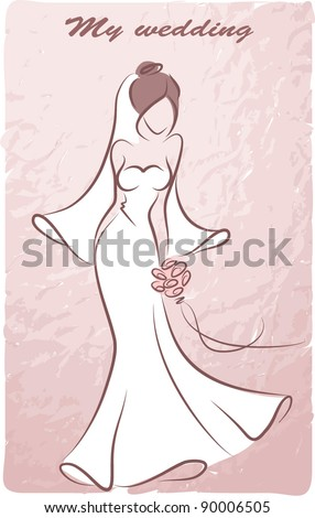 Silhouette of a bride in a wedding dress, background, wedding invitation, the vector - stock vector