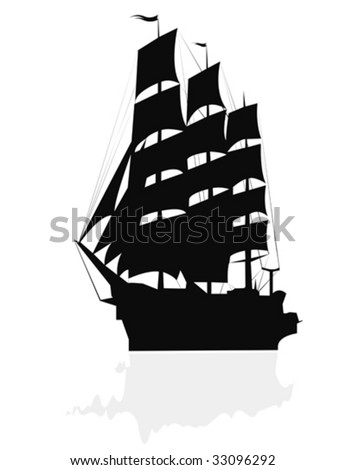 Silhouette of a brigantine. - stock vector