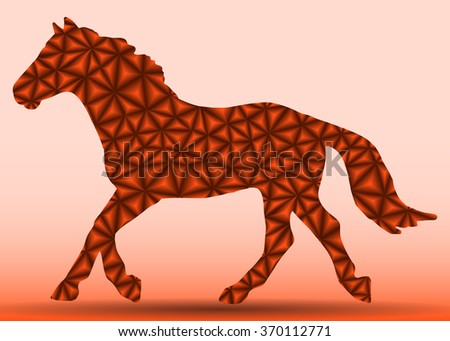 silhouette of a brown horse with a gradient of triangles on the run - stock vector