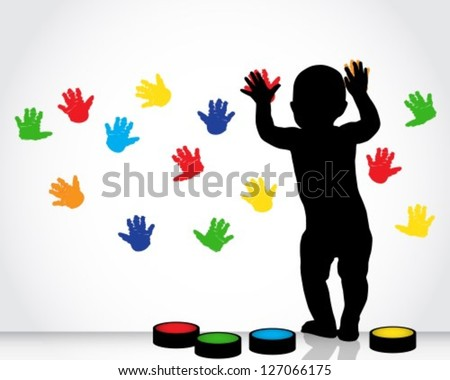 silhouette of a child draws on a white wall with colored hand prints - stock vector