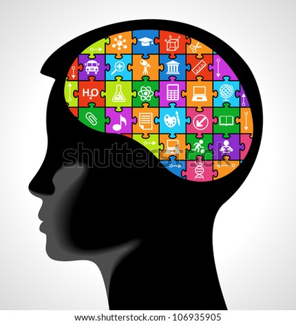 silhouette of a child head with the brain of the puzzles and education icons.. the concept of education of children. the generation of knowledge - stock vector