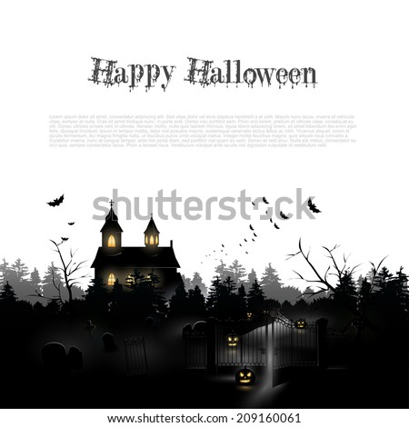 Silhouette of a church and cemetery in the woods - Halloween background with place for your text - stock vector