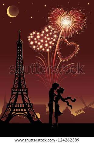 Silhouette of a couple in Paris. Firework in a shape of heart on the red background. - stock vector