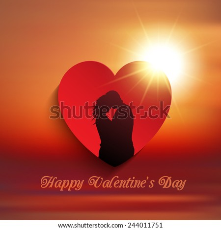 Silhouette of a couple kissing in a heart against a sunset sky - stock vector
