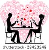 Silhouette of a couple sitting and talking at cafe, vector images scale to any size - stock vector