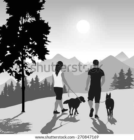Silhouette of a couple walking their dogs on sunset. Vector illustration - stock vector