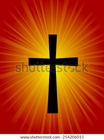 Silhouette of a cross on glowing red / orange background - stock vector