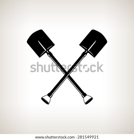 Silhouette of a Crossed Shovels on a Light Background, a Tool for Digging,Black and White Vector Illustration - stock vector