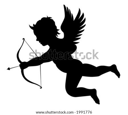 Silhouette of a cupid
