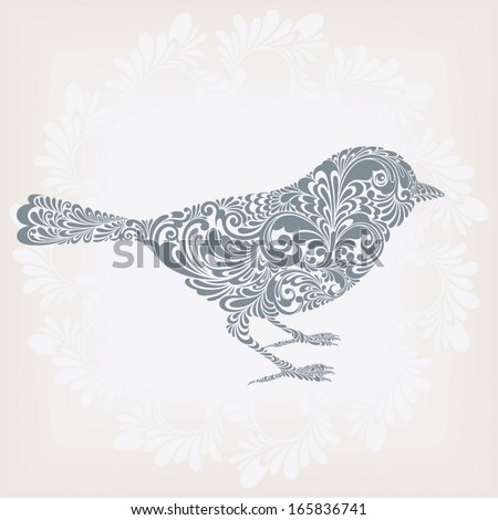 Silhouette of a cute bird ornamented with floral pattern, vector illustration - stock vector