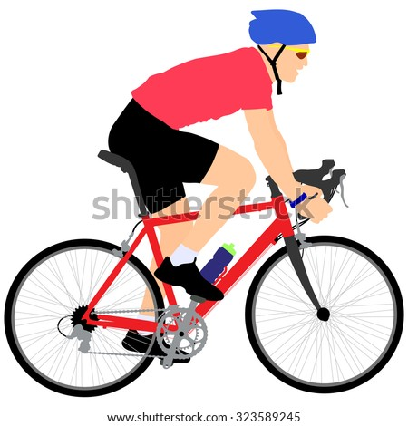 Silhouette of a cyclist male.  vector illustration. - stock vector