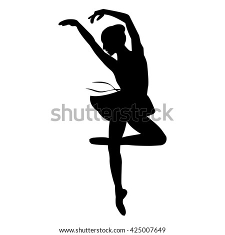 Silhouette of a dancing ballerina . Isolated background, white . - stock vector