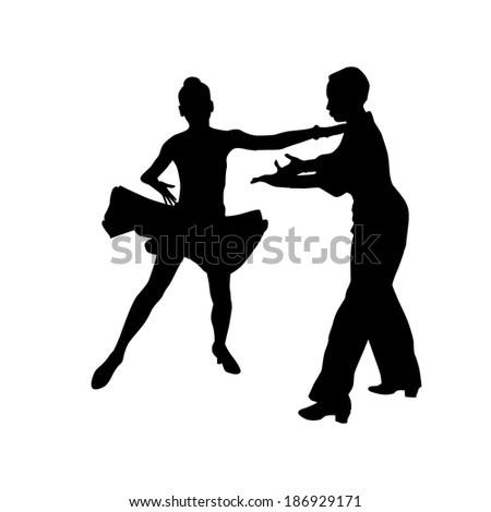 Silhouette of a dancing couple . Vector - stock vector