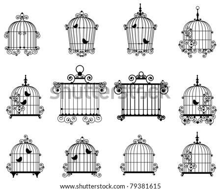 Silhouette of a decorative bird cages - stock vector