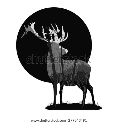 silhouette of a deer. Inside the pine forest - stock vector