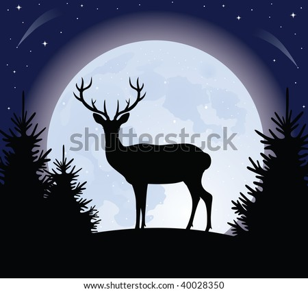 Silhouette of a deer standing on a hill. Full moon on the background. - stock vector