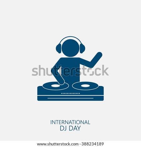 Silhouette of a DJ wearing headphones and scratching a record on the turntable.  - stock vector