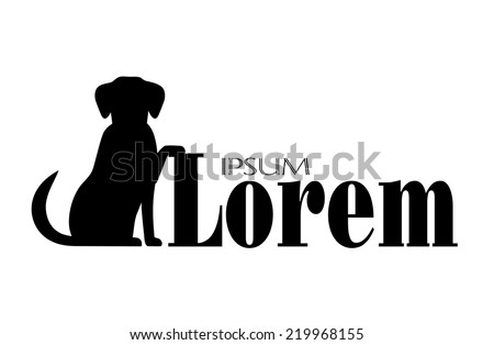 silhouette of  a dog with a place for your text - stock vector