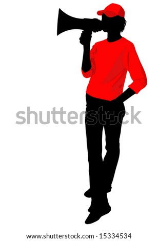 Silhouette of a dummy with a megaphone in advertising clothes - stock vector