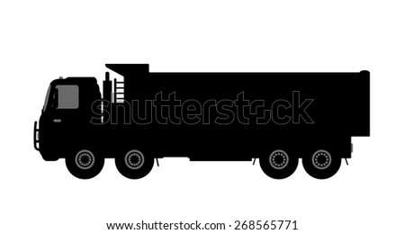 Silhouette of a dump truck on white background. Vector illustration.