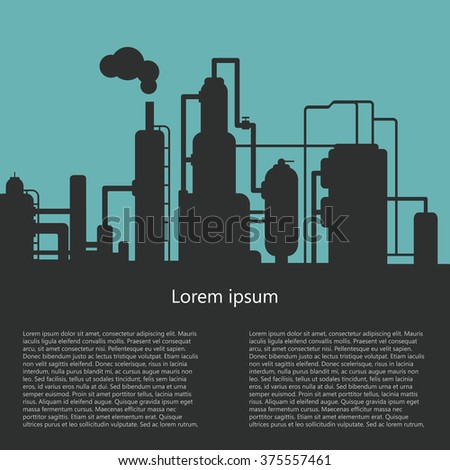 Silhouette of a factory. The outline of the refinery. Design brochures, information booklet. Vector illustration - stock vector