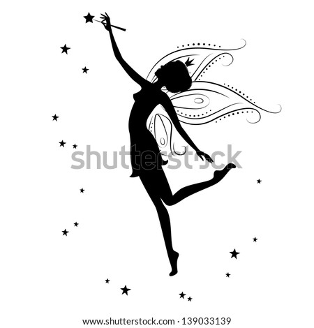 Silhouette of a fairy and stars . Vector illustration isolated on ...