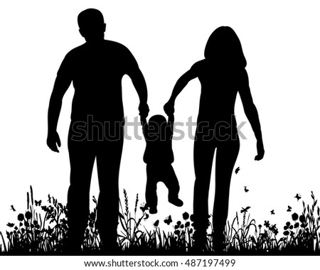 silhouette of a family with children