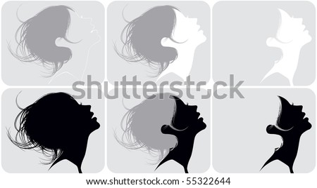 Silhouette of a female head with various hairdresses - stock vector