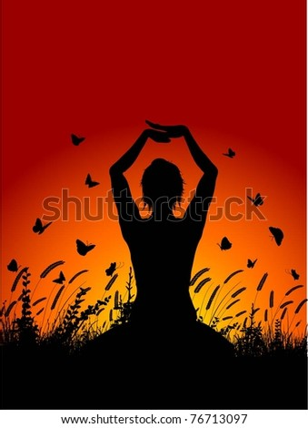 Silhouette of a female in a yoga pose against a sunset sky - stock vector