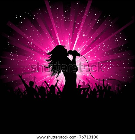 Silhouette of a female singer performing in front of a crowd - stock vector
