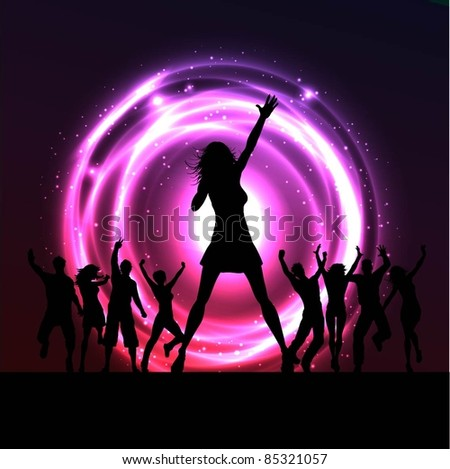 Silhouette of a female singer with people dancing behind her