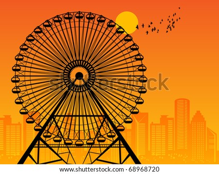 Silhouette of a Ferris Wheel at sunset, vector illustration - stock vector
