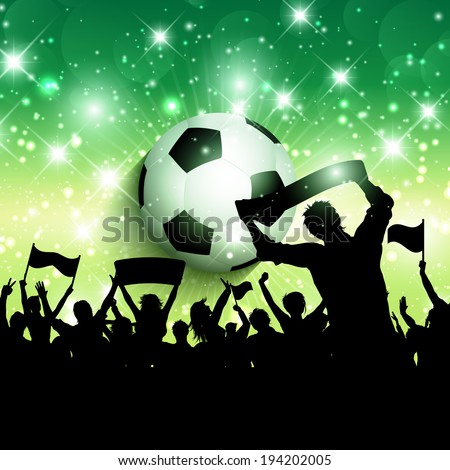 Silhouette of a football or soccer crowd background - stock vector