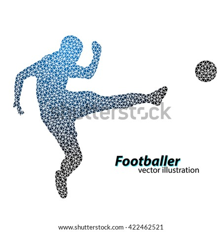 silhouette of a football player from triangles. Text on a separate layer, color can be changed in one click