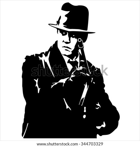silhouette of a gangster with a gun in hand on white background vector - stock vector