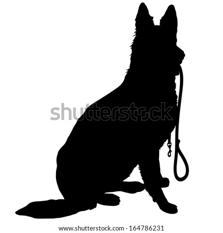 Silhouette of a German Shepherd holding a leash and ready to go for a walk - stock vector