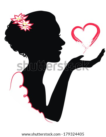 Silhouette of a girl holding in hand silhouette of a man with a heart - stock vector