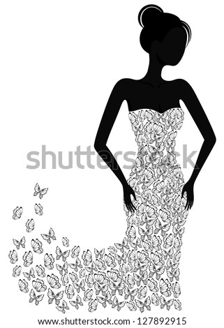 Silhouette of a girl in a butterfly dress flying apart - stock vector