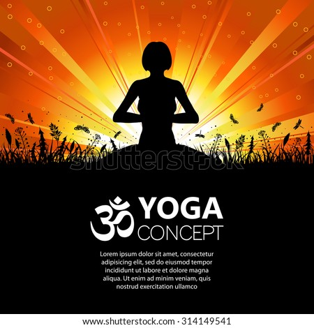Silhouette of a Girl in Yoga pose on Nature background with grass, flower and butterfly. Vector illustration. - stock vector