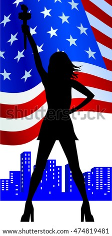 Silhouette of a girl on the background of the national flag of the USA
